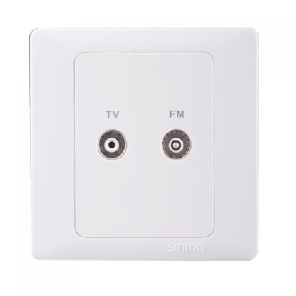 Ổ cắm TV/FM, bộ chia, kích thước chuẩn, có bảo vệ và một kết nối đầu ra đàu vào chuẩn F Simon 55115
