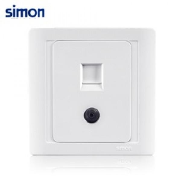 Bộ ổ cắm TV kết nối trực tiếp chuẩn và ổ cắm dữ liệu chuẩn RJ45 và Cat.6 Simon 60492S6-50
