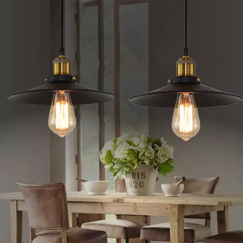 Đèn thả đĩa bay đui đồng D300 đèn vintage trang trí quán cafe